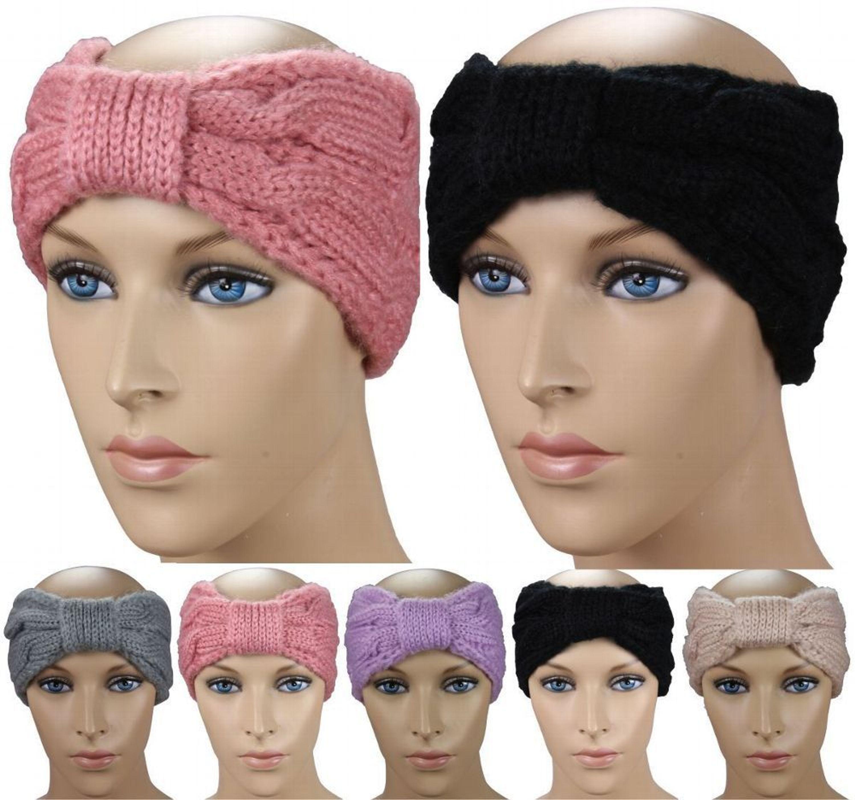 c0b84b36e12c09 Damen Winter Stirnband / Ohrwärmer Strick schwarz, grau, navy, weiß, beige,  bra