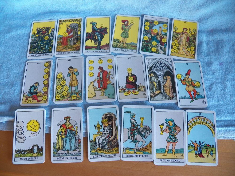 Tarot Karten 78 Stück Rückseite Blau Mit Gelben Kreuz Und Roter