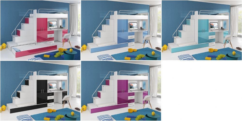 hochbett mit treppe beluzi mit g stebett in schwarz kaufen bei. Black Bedroom Furniture Sets. Home Design Ideas