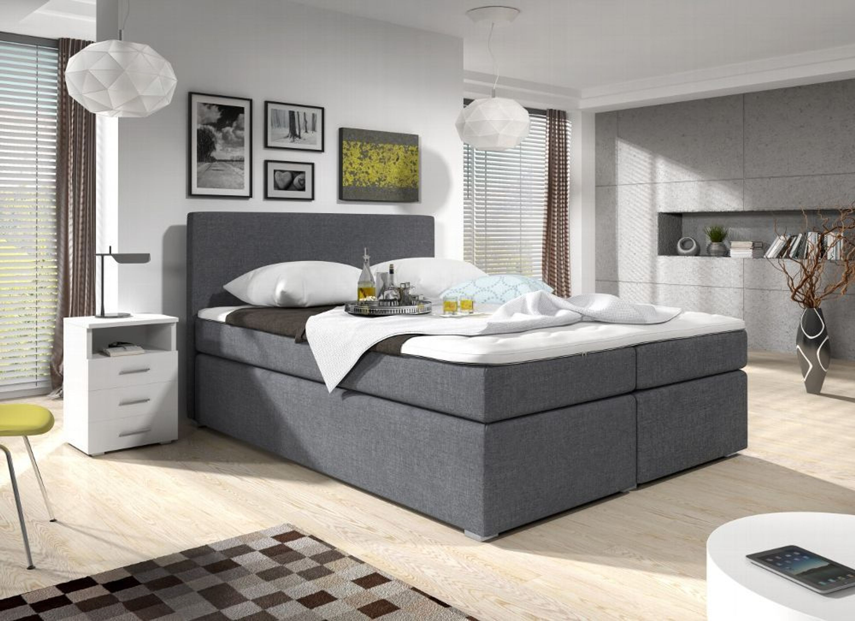 boxspringbett grau swing mit bettkasten 140x200 visco topper kaufen bei. Black Bedroom Furniture Sets. Home Design Ideas