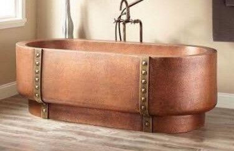 Badewanne Kupfer Wanne Freistehend Design Spa Luxus Kupferwanne