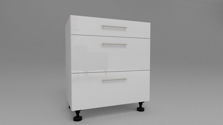 k chen unterschrank mit 3 schubladen schubladenschrank wei 30 80cm rellinggriff kaufen bei. Black Bedroom Furniture Sets. Home Design Ideas