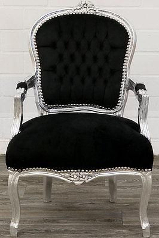 Top Trend Barockstuhl Black Silber Luxus Sitzmobel Neu Barock