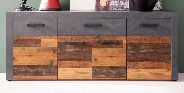Sideboard Kommode Wohnzimmer Esszimmer Anrichte Old Wood Grau Matera