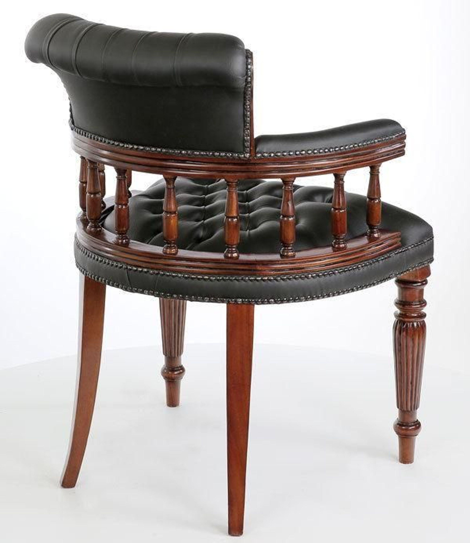 Mahagoni Bürostuhl Black Chesterfield Library Chair Schreibtisch