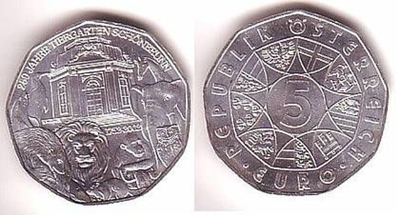 5 Euro Silber Münze österreich Tiergarten Schönbrunn Gebraucht