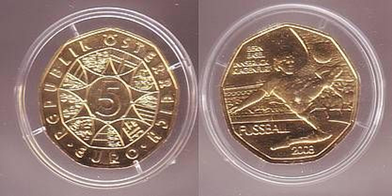 5 Euro Silber Münze österreich Fussball Em 2008