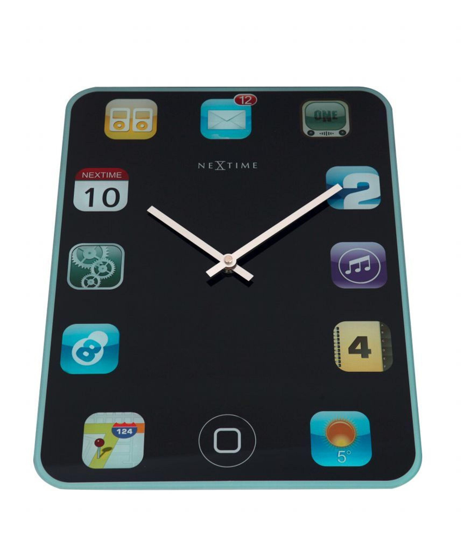 Nextime Wanduhr Wallpad 40x30cm lautlos Glas Wohnzimmer Küche Uhr  iPad-Design