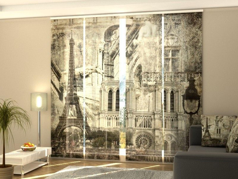 Fotogardine Retro Paris, Schiebevorhang mit Motiv, Schiebegardinen  Fotodruck, auf Maß