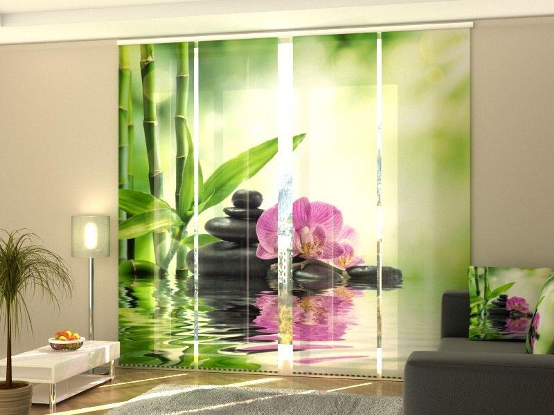 Fotogardine Bambus und Orchidee, Schiebevorhang mit Motiv, Schiebegardinen  auf Maß