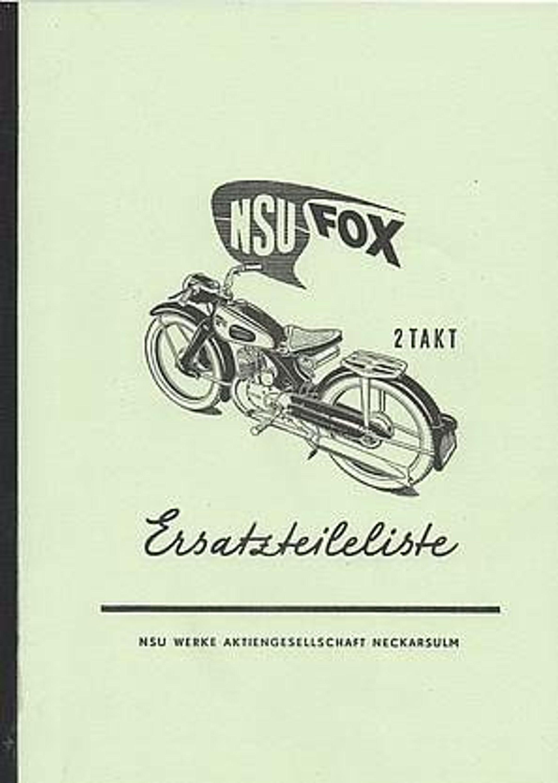 ersatzteilliste nsu fox 2 takt 125 ccm motorrad zweirad. Black Bedroom Furniture Sets. Home Design Ideas