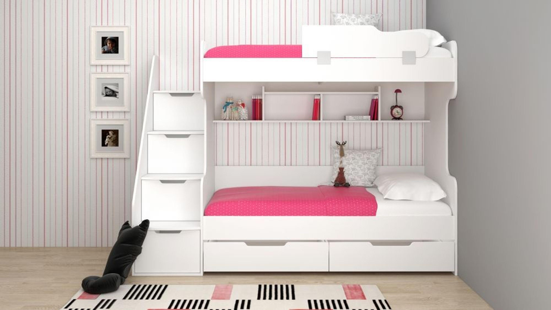 Etagenbett Doppelt : Etagenbett mit treppe happy weiß kaufen bei hood.de