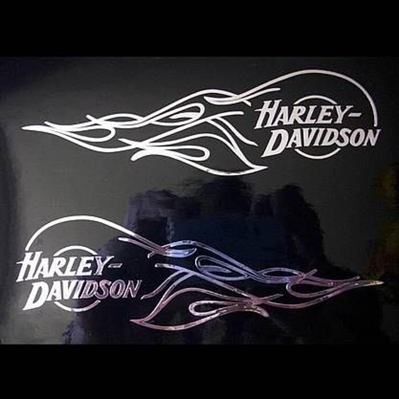 2x aufkleber sticker harley davidson tank flamme 130 0291. Black Bedroom Furniture Sets. Home Design Ideas