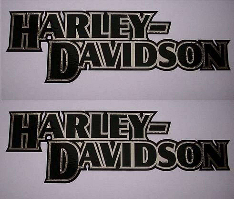 2x Aufkleber Sticker Harley Davidson Tank Ol Chrom Schwarz 0154