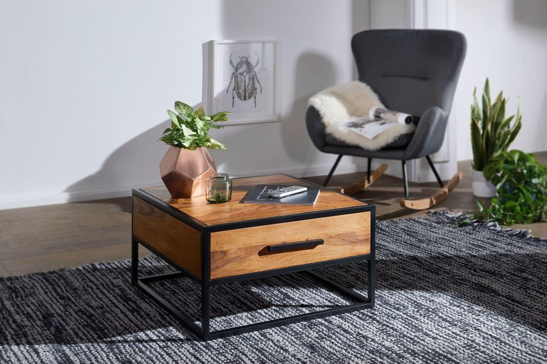 FineBuy Couchtisch Wohnzimmertisch Holz Massiv Sofatisch Tisch Wohnzimmer  Braun