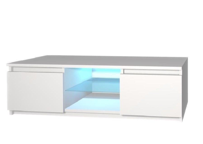 TV Lowboard TV Schrank TV Tisch Sideboard Fernsehtisch 120 cm Weiss  Hochglanz LED