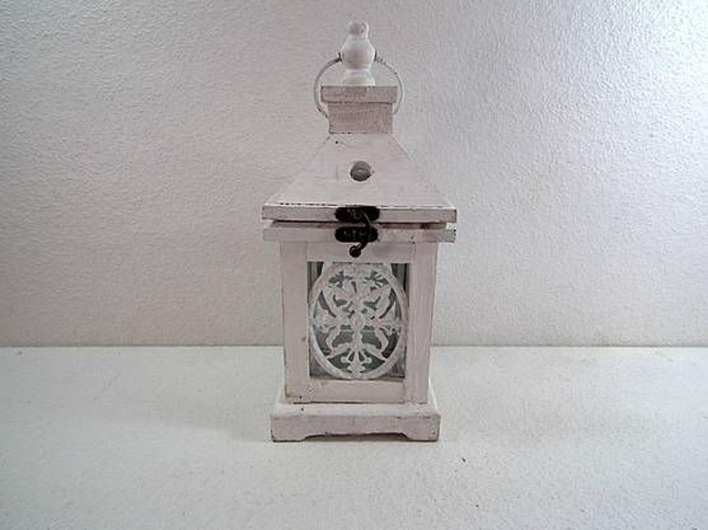 laterne holz glas blechverzierung auf alt gemacht wei kaufen bei. Black Bedroom Furniture Sets. Home Design Ideas