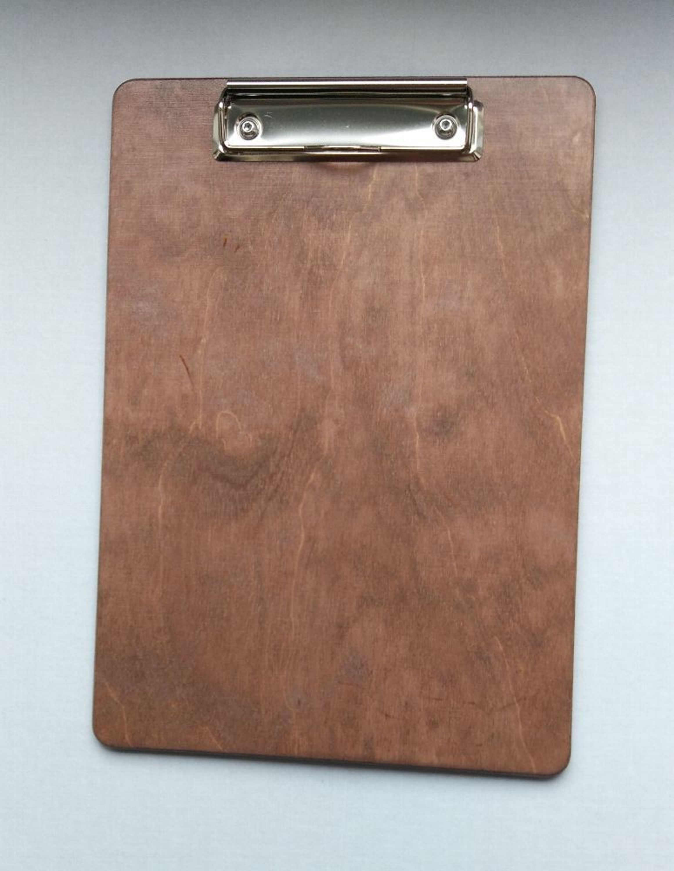 DIN A5 Farbe nussbr.-dkl. Bügelklemme Klemmbrett  aus Holz