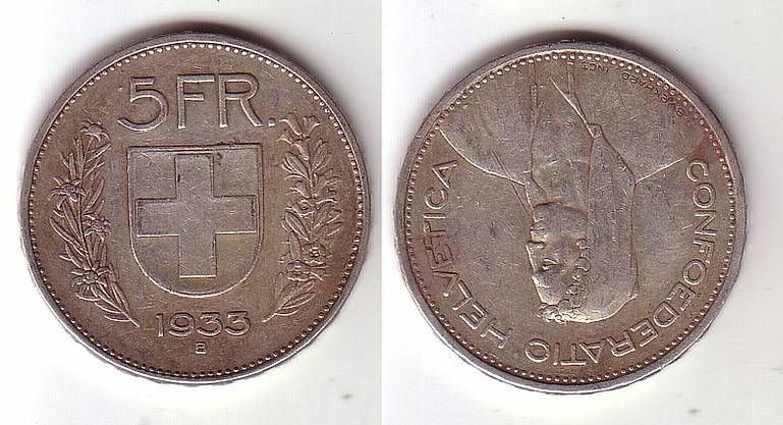 5 Franken Silber Münze Schweiz 1933 Gebraucht Kaufen Bei Hoodde