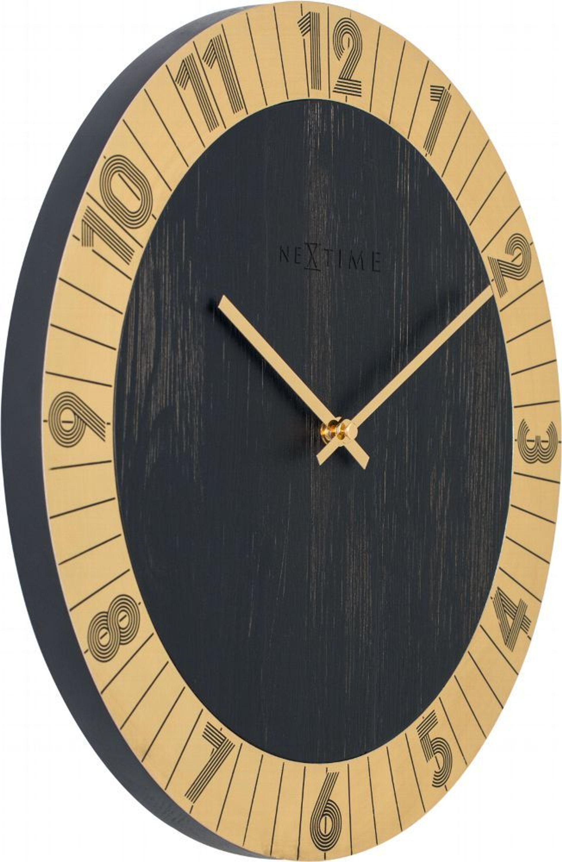 NeXtime Wanduhr FLARE Ø 35cm lautlos Holz Gold Wohnzimmer Küche Quarz Uhr