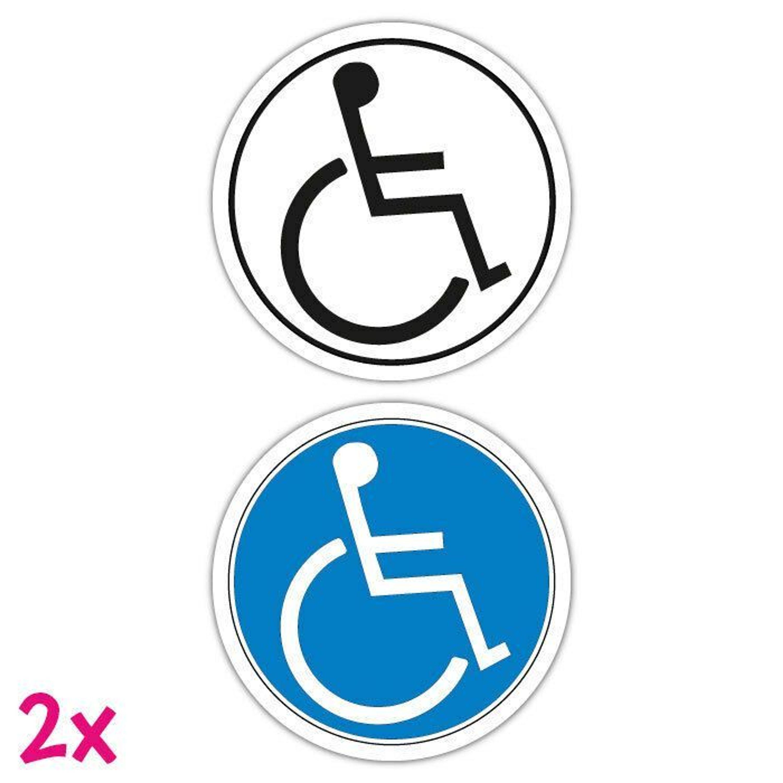 2x Aufkleber 10cm Hinweis Behinderte Rollstuhlfahrer Rollstuhl Schild