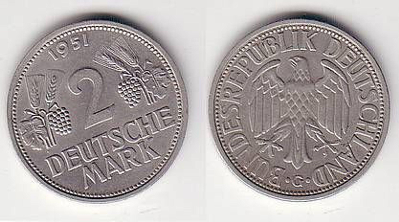 Seltene 2 Dm Münze Brd 1951 G Trauben Und ähren Gebraucht Kaufen Bei