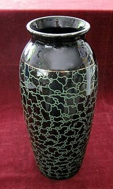 ddr sch ne schwarze vase mit gr nem dekor 26 cm hoch kaufen bei. Black Bedroom Furniture Sets. Home Design Ideas