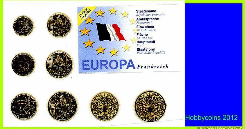 F Frankreich Eurosatz 388 Euro 8 Münzen 24 Karat Vergoldet