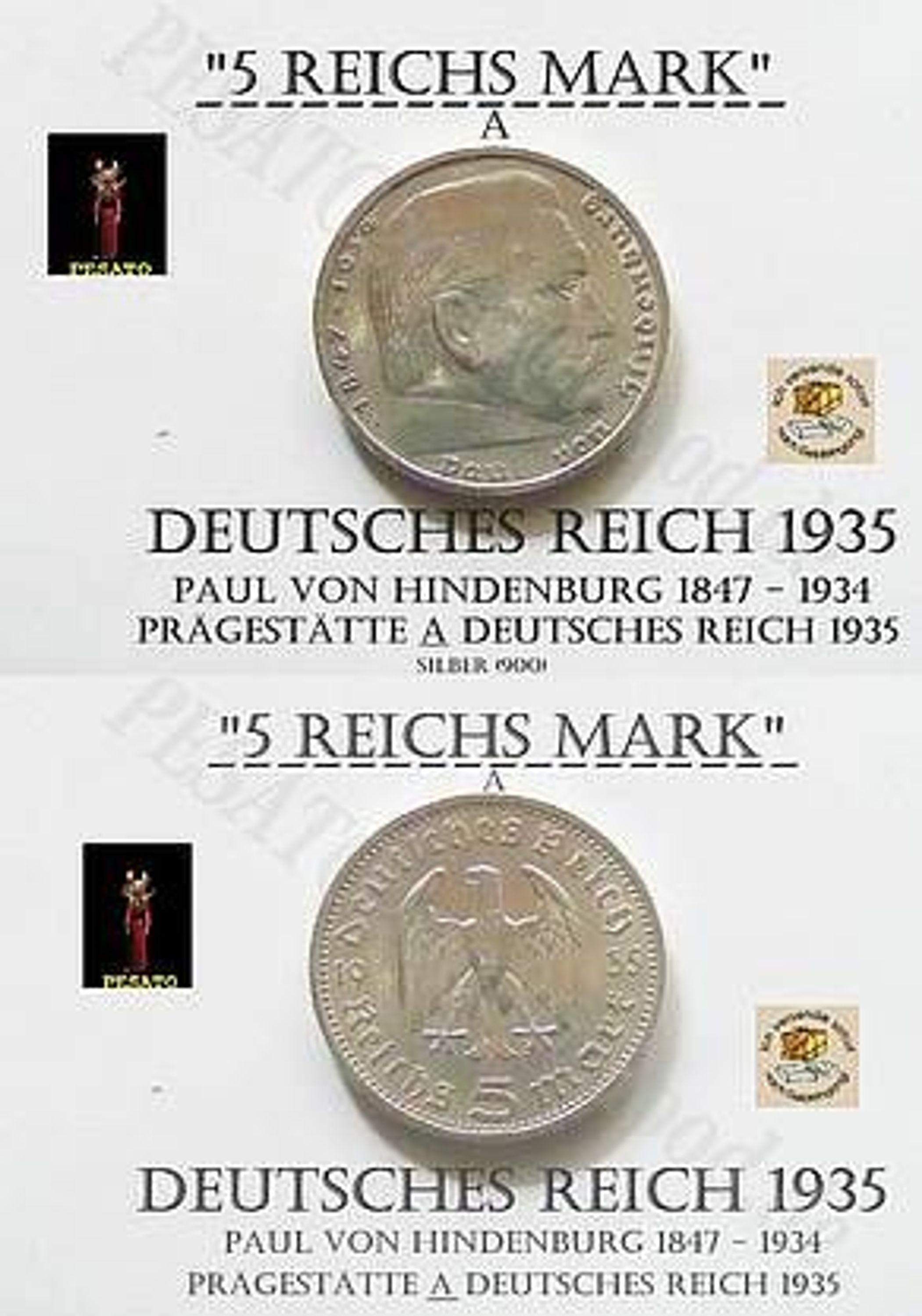 5 Reichsmark Silbermünze Deutsches Reich1935 A Paul Von