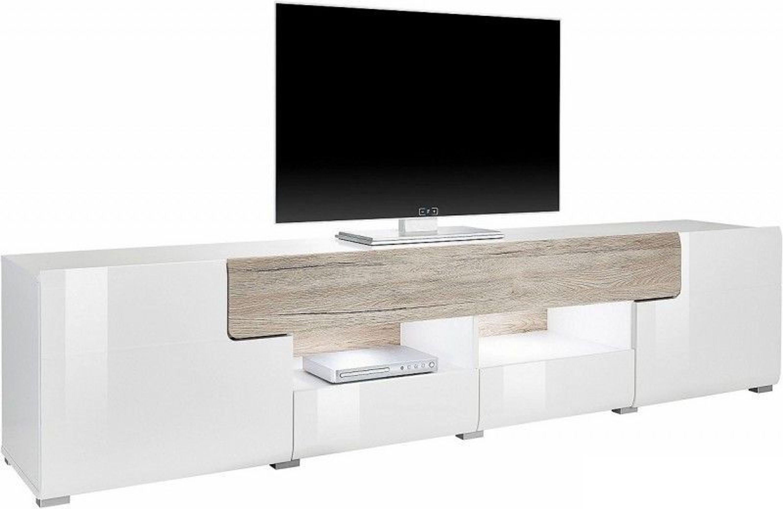 Lowboard Tv Mobel Wohnzimmer Wohnwand Weiss Hochglanz Eiche San Remo Neu 167889