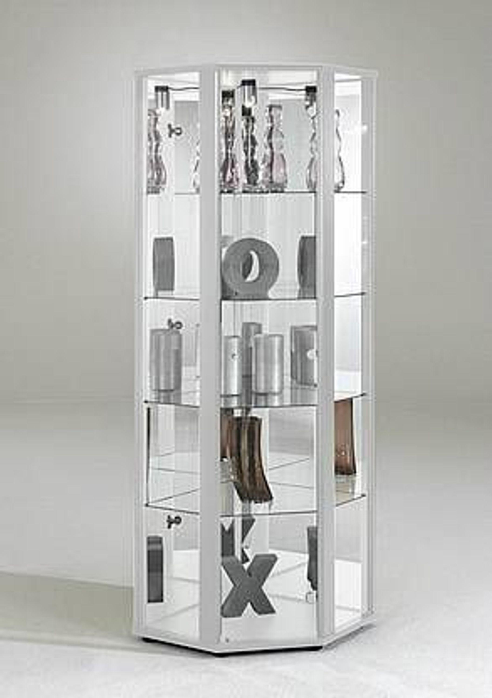 glasvitrine sammelvitrine eckvitrine beleuchtung weiss regal glas spiegel eckschrank kaufen bei. Black Bedroom Furniture Sets. Home Design Ideas