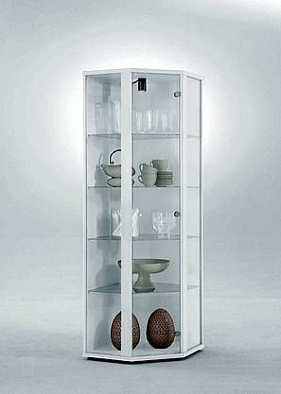 glasvitrine sammelvitrine eckvitrine beleuchtung weiss glas eckschrank sammlervitrine kaufen bei. Black Bedroom Furniture Sets. Home Design Ideas
