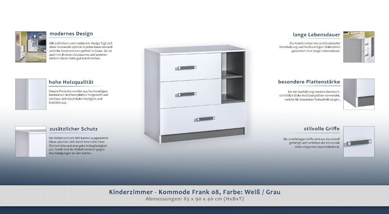 Kinderzimmer - Kommode Frank 08, Farbe: Weiß / Grau - 83 x 90 x 40 cm (H x  B x T
