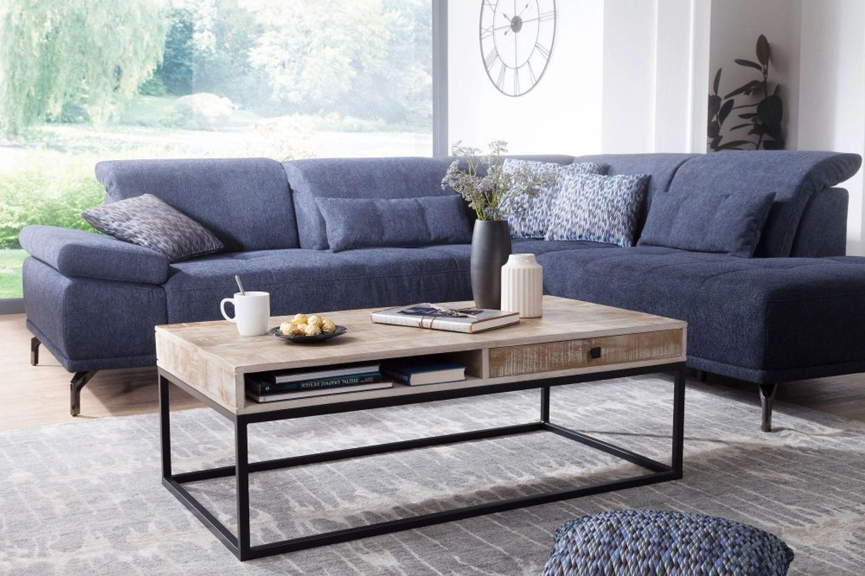 FineBuy Couchtisch Wohnzimmertisch Holz Massiv Sofatisch Tisch Wohnzimmer  Mango