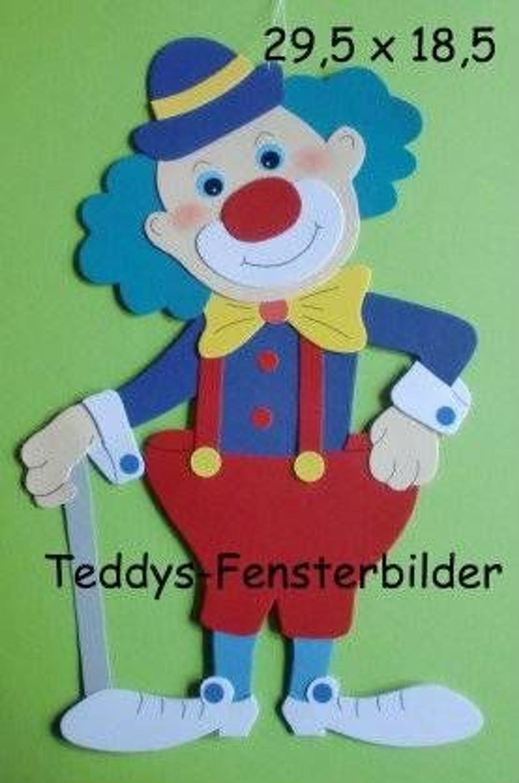teddys fensterbilder 15 clown mit stock tonkarton. Black Bedroom Furniture Sets. Home Design Ideas