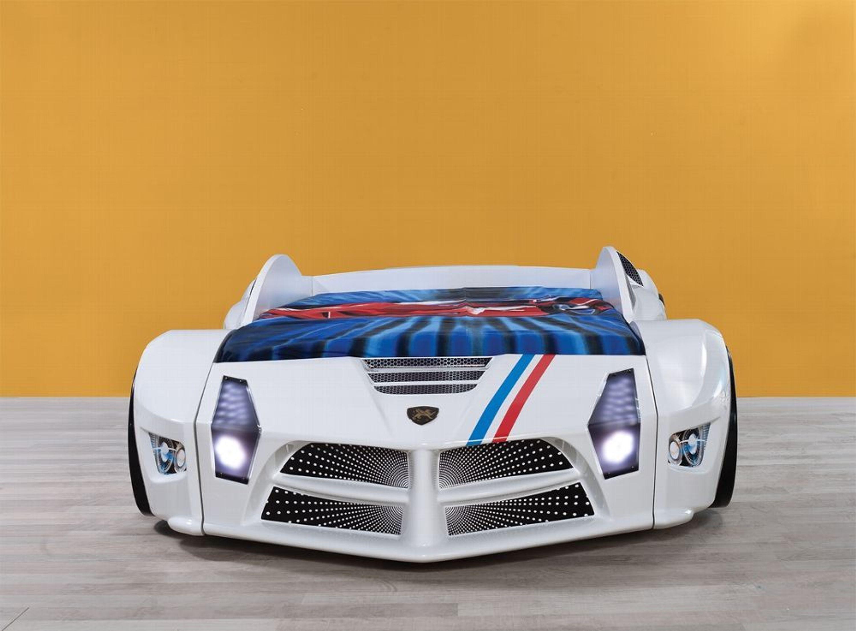Autobett Luxury Standart in Weiß mit LED Scheinwerfern und Sound