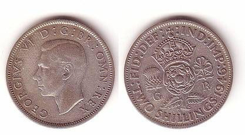 2 Schilling Silber Münze Großbritannien 1946