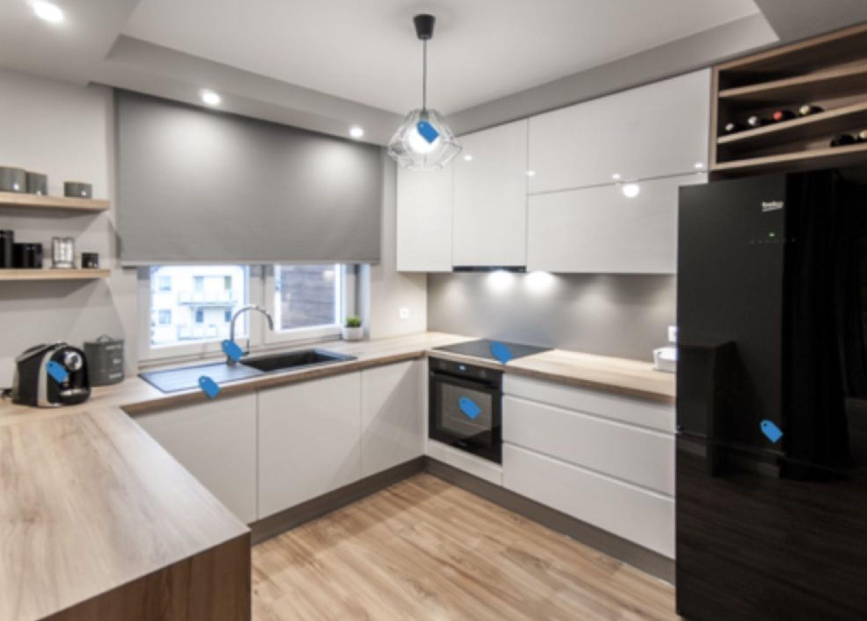 Küche Küchenzeile U-Küche weiß Glanz Hochglanz grifflos - soft Close