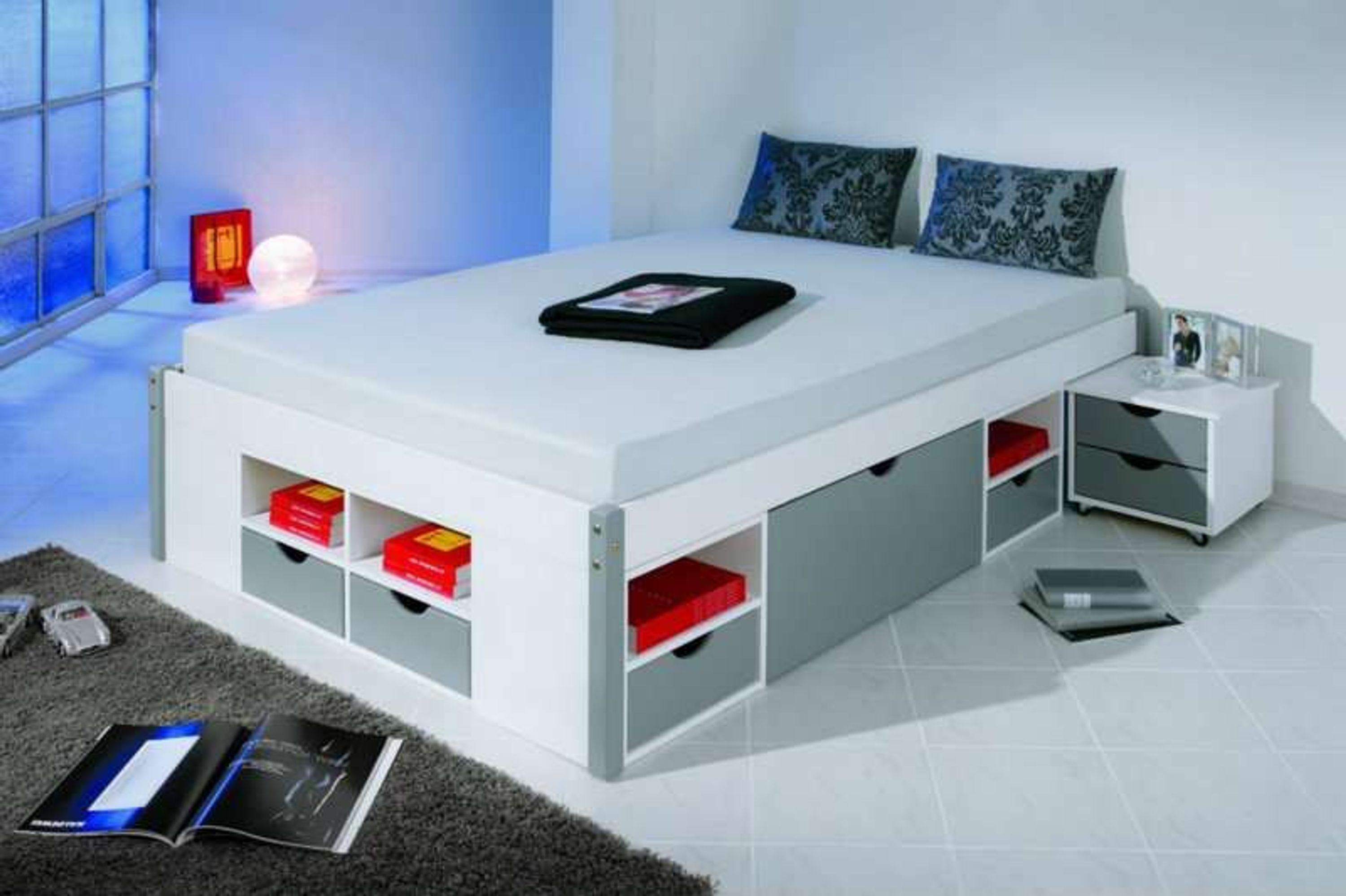 bett doppelbett 140 180 cm breit 2 kommoden 8 schubladen massivholz wei grau makis kaufen bei. Black Bedroom Furniture Sets. Home Design Ideas