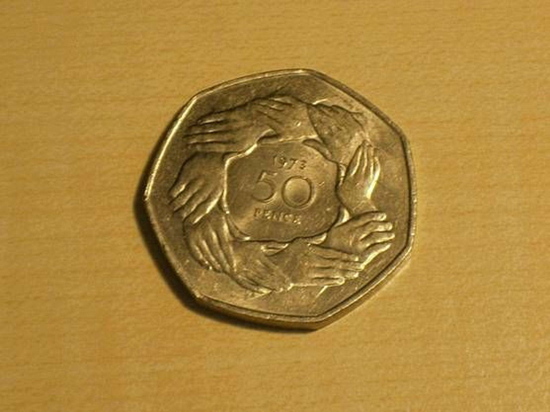 Großbritannien 50 Pence Münze Erschienen 1973 Zum Eu Beitritt