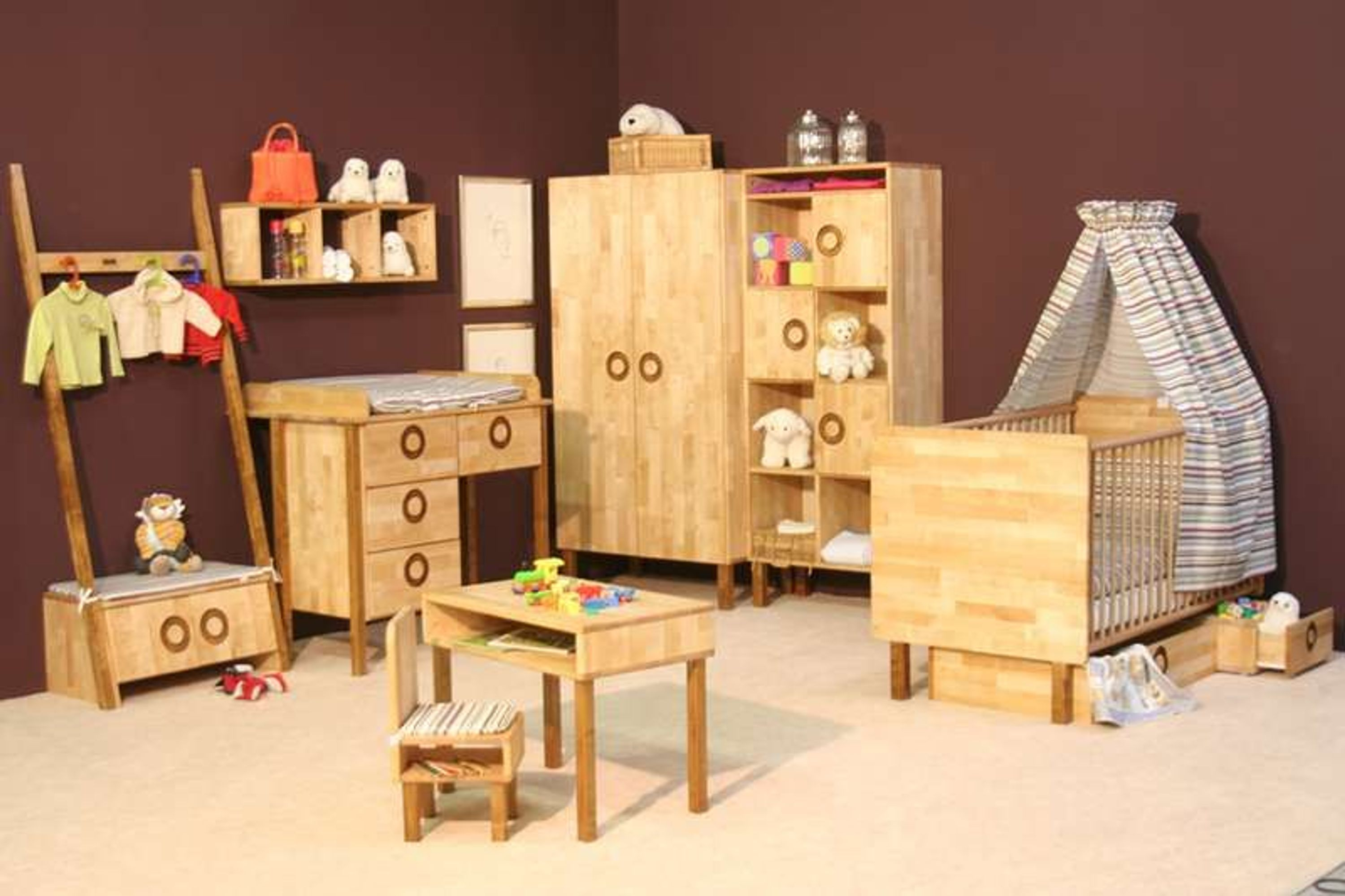 taube kinderzimmer babyzimmer natura bett kommode schrank birke massiv ge lt kaufen bei. Black Bedroom Furniture Sets. Home Design Ideas