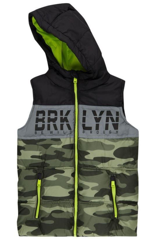 2019 professionell neuer & gebrauchter designer neueste Art von Jungen Steppweste Kapuze Weste Camouflage Grün Wattierung Stehkragen