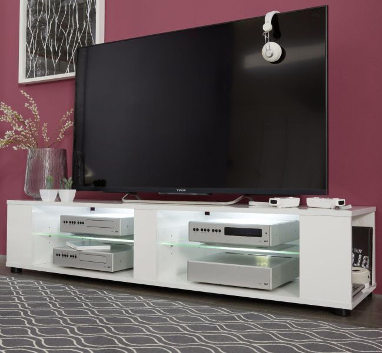 TV Lowboard Board weiß Glanz Unterteil hängend stehend Fernsehtisch 140 cm  Henry
