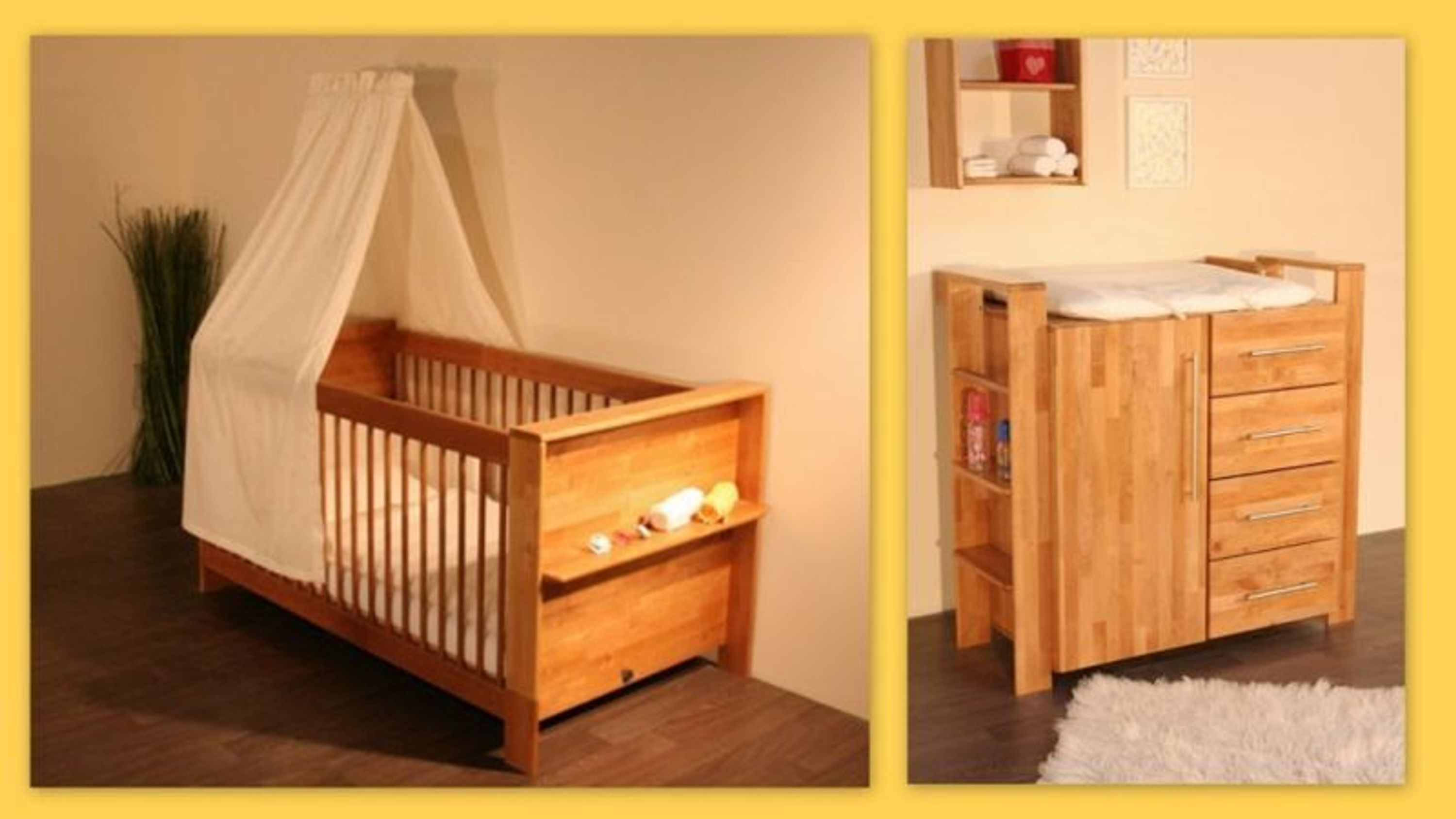 taube kinderzimmer babyzimmer gustav bett und wickelkommode erle massiv ge lt kaufen bei. Black Bedroom Furniture Sets. Home Design Ideas