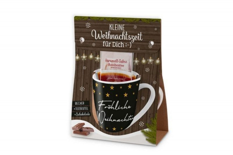 Geschenkkarton Weihnachten.Tasse Geschenkkarton Mit Tee Und Schokolade Frohliche Weihnachten