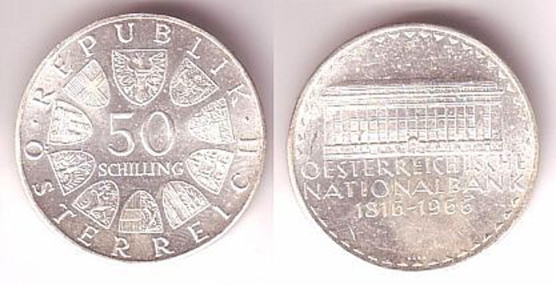 50 Schilling Silber Münze österreichische Nationalbank 1816 1966
