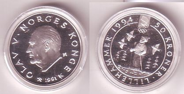 50 Kronen Silber Münze Norwegen Olympiade Lillehammer 1991 Gebraucht