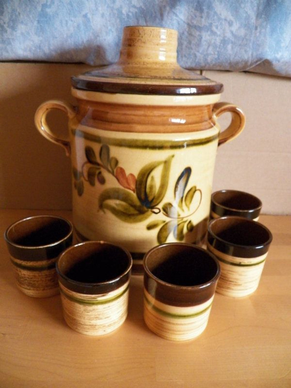 bowle set bowletopf mit deckel 5 becker aus keramik in ocker mit blumen kaufen bei. Black Bedroom Furniture Sets. Home Design Ideas