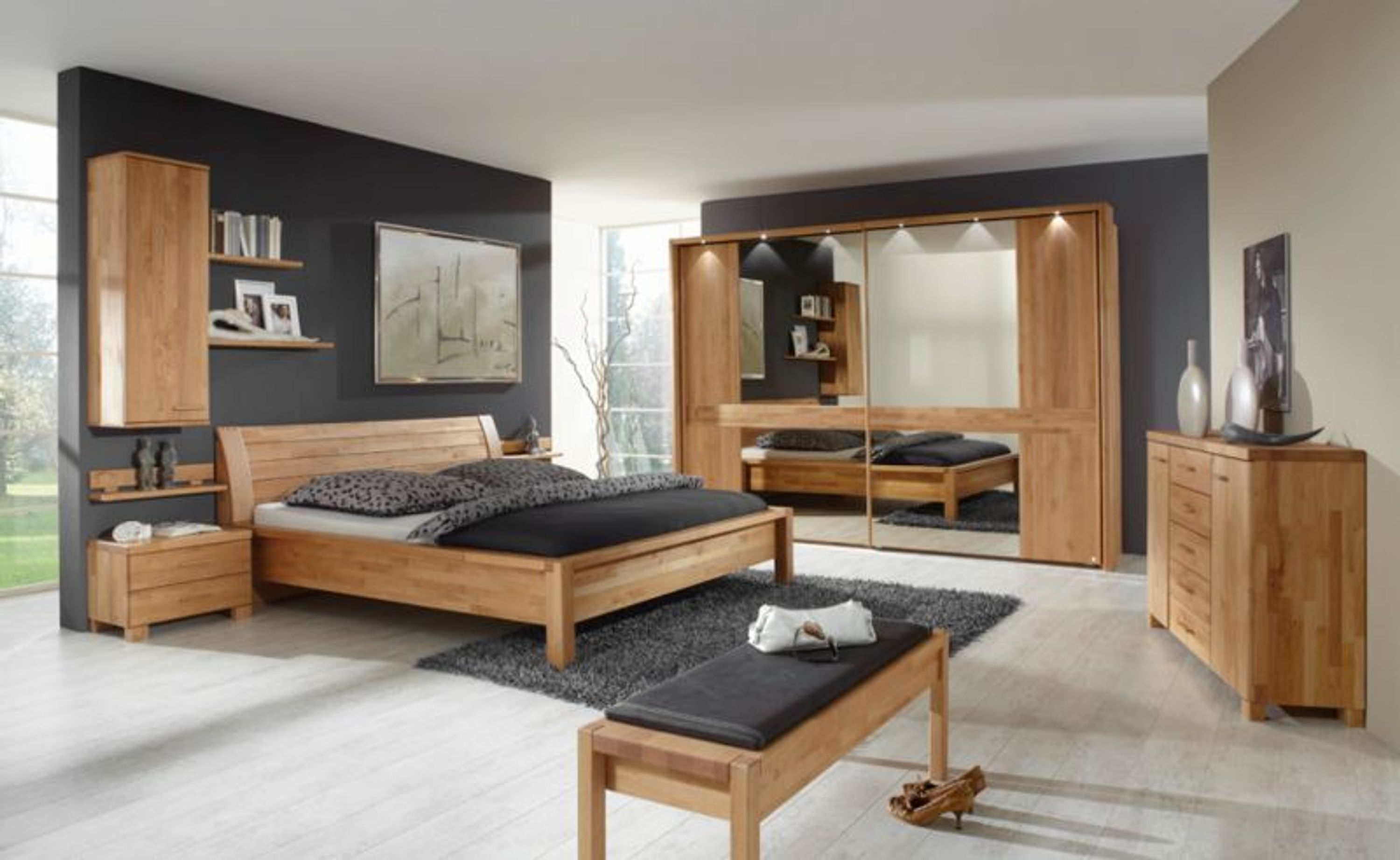 schlafzimmer gent erle massiv 200x200 kaufen bei. Black Bedroom Furniture Sets. Home Design Ideas