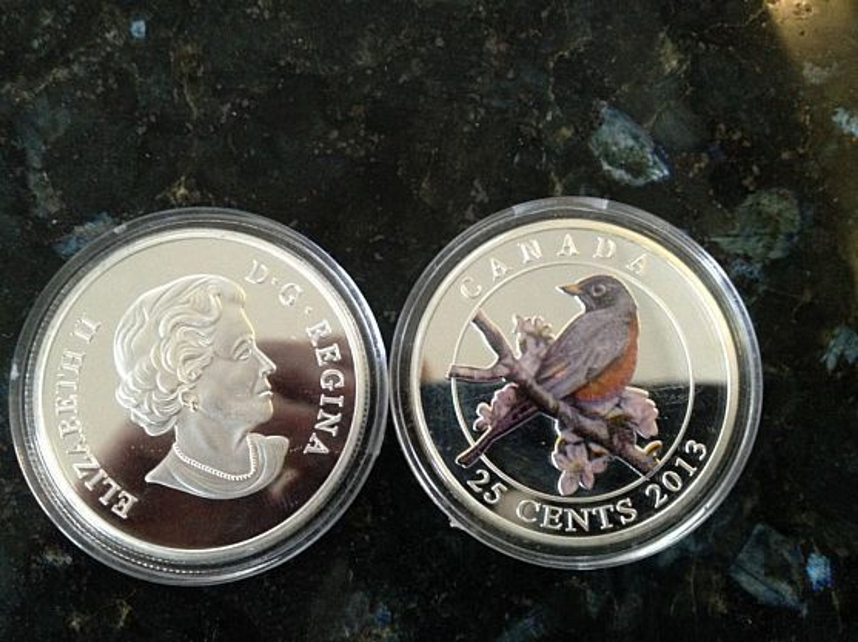 Mallard Silver Coin 25 Cent Canada Elizabeth II D G Regina, Silbermünze,  Silberbarren